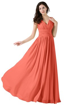 ColsBM Alana Fusion Coral Elegant V-neck Sleeveless Zip up Floor Length Ruching Bridesmaid Dresses