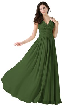 ColsBM Alana Garden Green Elegant V-neck Sleeveless Zip up Floor Length Ruching Bridesmaid Dresses