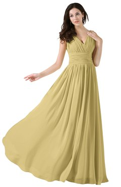 ColsBM Alana Gold Elegant V-neck Sleeveless Zip up Floor Length Ruching Bridesmaid Dresses