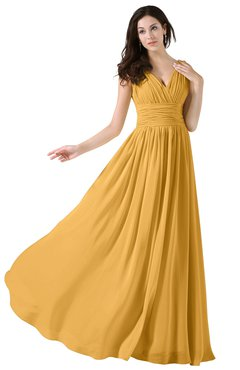 ColsBM Alana Golden Cream Elegant V-neck Sleeveless Zip up Floor Length Ruching Bridesmaid Dresses