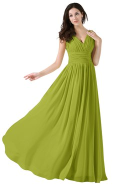 ColsBM Alana Green Oasis Elegant V-neck Sleeveless Zip up Floor Length Ruching Bridesmaid Dresses