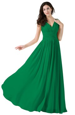ColsBM Alana Green Elegant V-neck Sleeveless Zip up Floor Length Ruching Bridesmaid Dresses