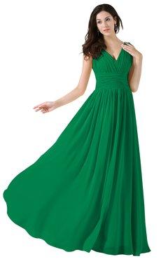ColsBM Alana Green Elegant V-neck Sleeveless Zip up Floor Length Ruching Bridesmaid Dresses