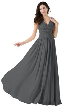 ColsBM Alana Grey Elegant V-neck Sleeveless Zip up Floor Length Ruching Bridesmaid Dresses