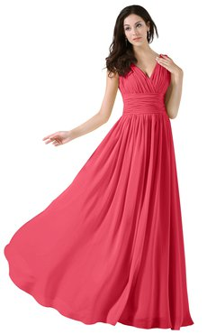 ColsBM Alana Guava Elegant V-neck Sleeveless Zip up Floor Length Ruching Bridesmaid Dresses