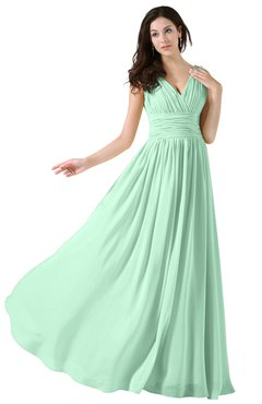ColsBM Alana Honeydew Elegant V-neck Sleeveless Zip up Floor Length Ruching Bridesmaid Dresses