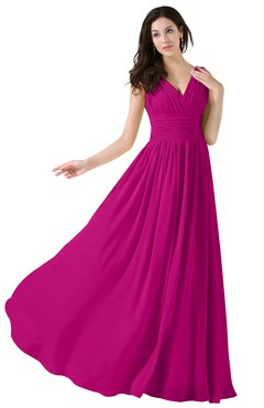 ColsBM Alana Hot Pink Elegant V-neck Sleeveless Zip up Floor Length Ruching Bridesmaid Dresses
