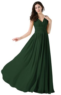 ColsBM Alana Hunter Green Elegant V-neck Sleeveless Zip up Floor Length Ruching Bridesmaid Dresses