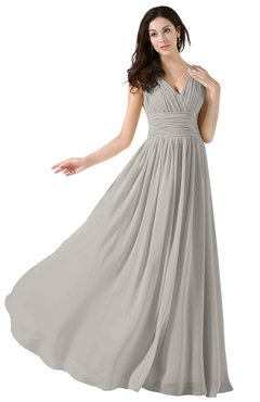 ColsBM Alana Hushed Violet Elegant V-neck Sleeveless Zip up Floor Length Ruching Bridesmaid Dresses