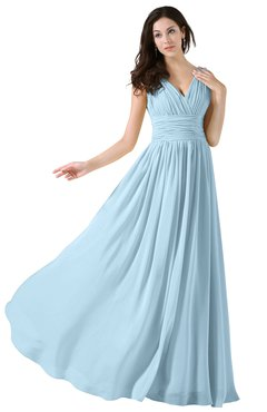ColsBM Alana Ice Blue Elegant V-neck Sleeveless Zip up Floor Length Ruching Bridesmaid Dresses