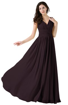 ColsBM Alana Italian Plum Elegant V-neck Sleeveless Zip up Floor Length Ruching Bridesmaid Dresses