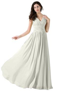 ColsBM Alana Ivory Elegant V-neck Sleeveless Zip up Floor Length Ruching Bridesmaid Dresses