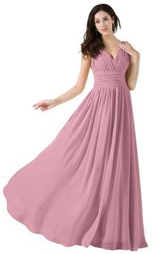 2cfa503ea4 ColsBM Alana Light Coral Elegant V-neck Sleeveless Zip up Floor Length  Ruching Bridesmaid Dresses