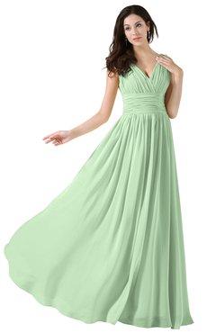 52886e78844c3 ColsBM Alana Light Green Elegant V-neck Sleeveless Zip up Floor Length  Ruching Bridesmaid Dresses
