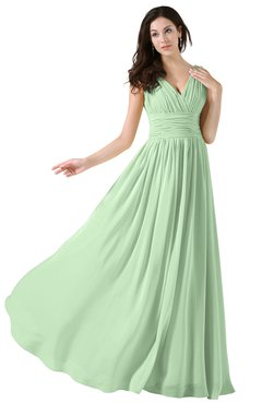 ColsBM Alana Light Green Elegant V-neck Sleeveless Zip up Floor Length Ruching Bridesmaid Dresses