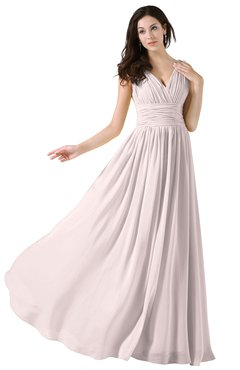ColsBM Alana Light Pink Elegant V-neck Sleeveless Zip up Floor Length Ruching Bridesmaid Dresses
