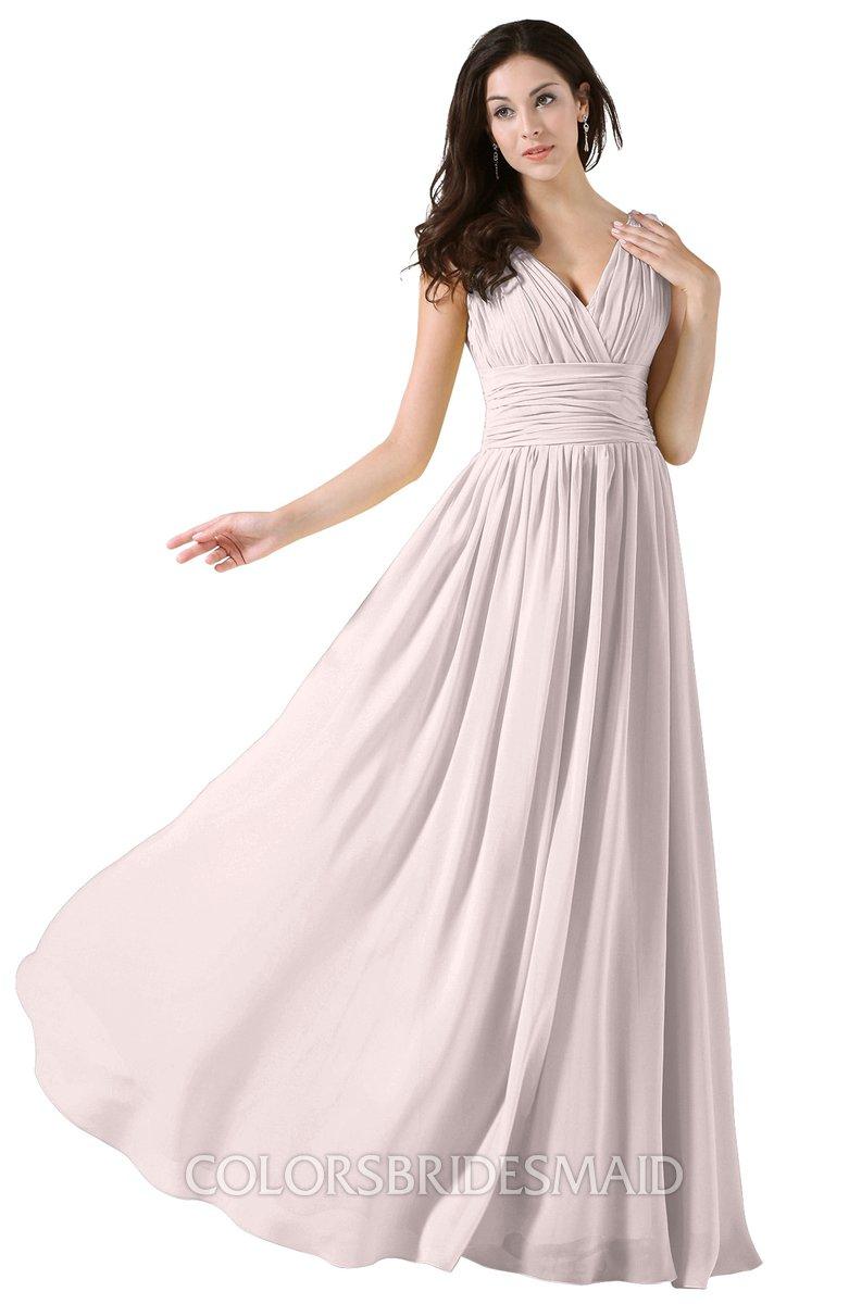 9b6b2257b15e ColsBM Alana Light Pink Elegant V-neck Sleeveless Zip up Floor Length  Ruching Bridesmaid Dresses