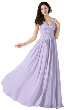 Colsbm Alana Light Purple Elegant V Neck Sleeveless Zip Up Floor Length Ruching Bridesmaid Dresses