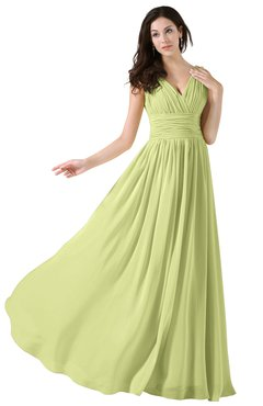 ColsBM Alana Lime Sherbet Elegant V-neck Sleeveless Zip up Floor Length Ruching Bridesmaid Dresses