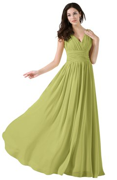 ColsBM Alana Linden Green Elegant V-neck Sleeveless Zip up Floor Length Ruching Bridesmaid Dresses