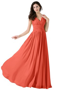 ColsBM Alana Living Coral Elegant V-neck Sleeveless Zip up Floor Length Ruching Bridesmaid Dresses