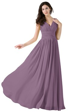ColsBM Alana Mauve Elegant V-neck Sleeveless Zip up Floor Length Ruching Bridesmaid Dresses