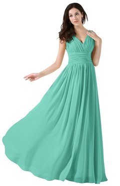 ColsBM Alana Mint Green Elegant V-neck Sleeveless Zip up Floor Length Ruching Bridesmaid Dresses