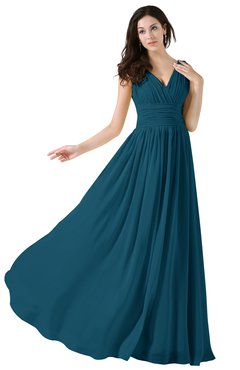 ColsBM Alana Moroccan Blue Elegant V-neck Sleeveless Zip up Floor Length Ruching Bridesmaid Dresses