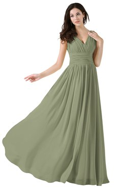 ColsBM Alana Moss Green Elegant V-neck Sleeveless Zip up Floor Length Ruching Bridesmaid Dresses