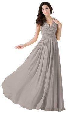 ColsBM Alana Mushroom Elegant V-neck Sleeveless Zip up Floor Length Ruching Bridesmaid Dresses