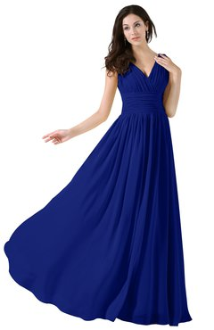 ColsBM Alana Nautical Blue Elegant V-neck Sleeveless Zip up Floor Length Ruching Bridesmaid Dresses
