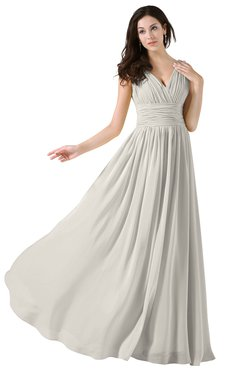 ColsBM Alana Off White Elegant V-neck Sleeveless Zip up Floor Length Ruching Bridesmaid Dresses
