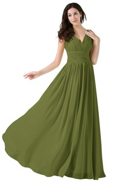 ColsBM Alana Olive Green Elegant V-neck Sleeveless Zip up Floor Length Ruching Bridesmaid Dresses