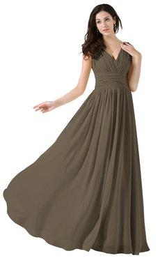 ColsBM Alana Otter Elegant V-neck Sleeveless Zip up Floor Length Ruching Bridesmaid Dresses