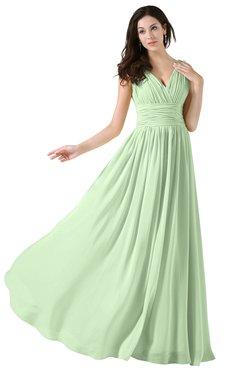 Colsbm Alana Pale Green Elegant V Neck Sleeveless Zip Up Floor Length Ruching Bridesmaid Dresses