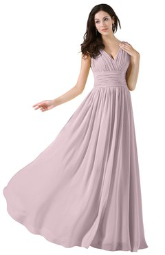 ColsBM Alana Pale Lilac Elegant V-neck Sleeveless Zip up Floor Length Ruching Bridesmaid Dresses