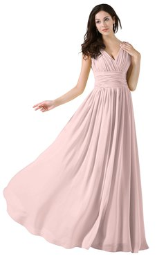 ColsBM Alana Pastel Pink Elegant V-neck Sleeveless Zip up Floor Length Ruching Bridesmaid Dresses