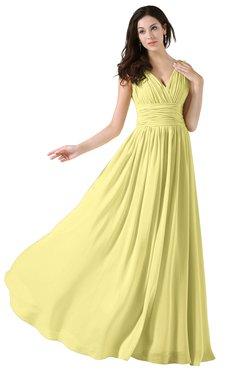 ColsBM Alana Pastel Yellow Elegant V-neck Sleeveless Zip up Floor Length Ruching Bridesmaid Dresses