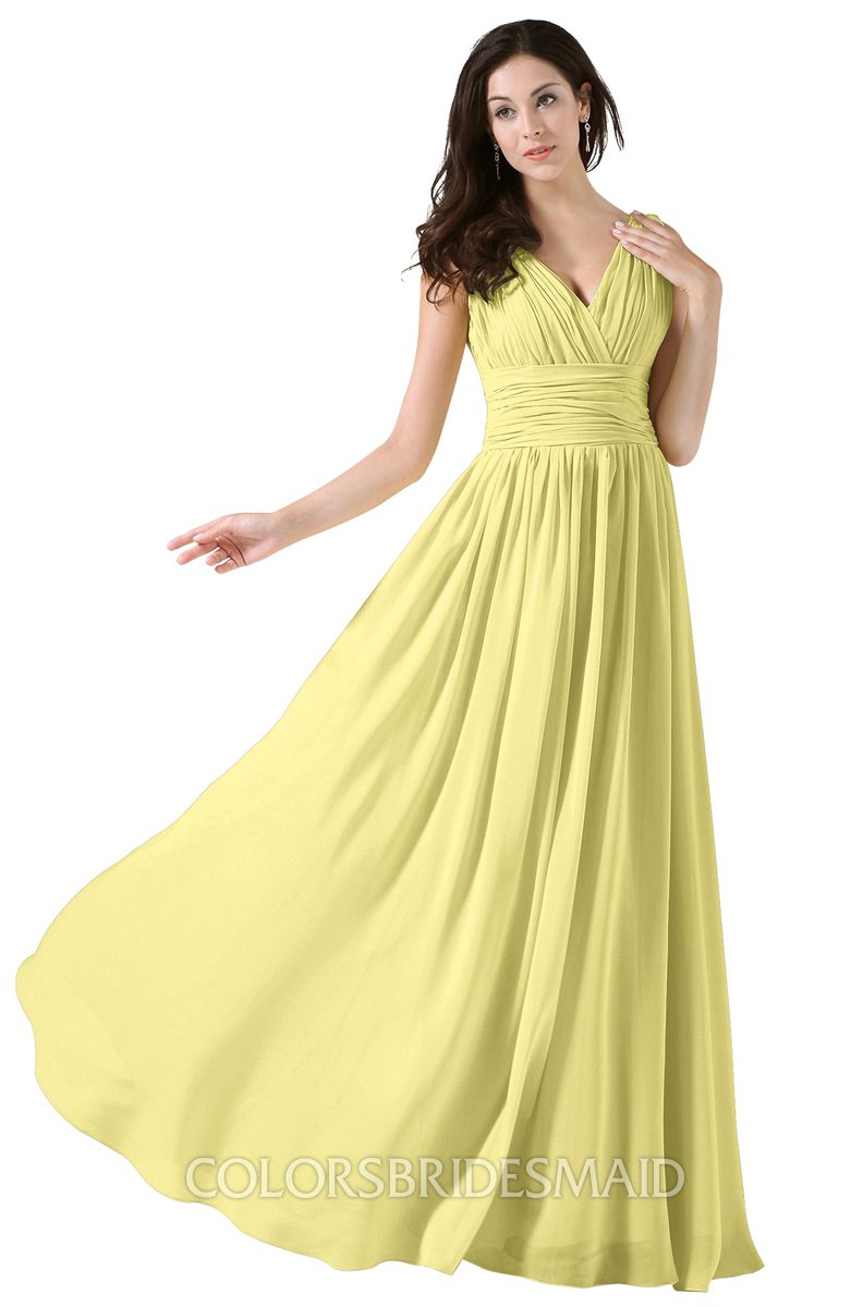 09bcc14259 ColsBM Alana Pastel Yellow Elegant V-neck Sleeveless Zip up Floor Length  Ruching Bridesmaid Dresses