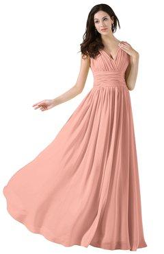 Colsbm Alana Peach Elegant V Neck Sleeveless Zip Up Floor Length Ruching Bridesmaid Dresses