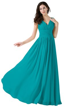 ColsBM Alana Peacock Blue Elegant V-neck Sleeveless Zip up Floor Length Ruching Bridesmaid Dresses