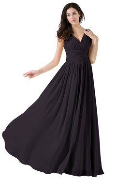 ColsBM Alana Perfect Plum Elegant V-neck Sleeveless Zip up Floor Length Ruching Bridesmaid Dresses