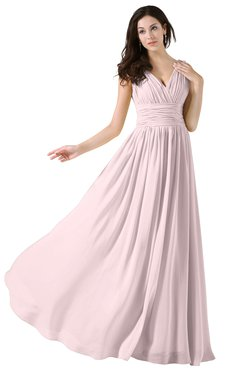ColsBM Alana Petal Pink Elegant V-neck Sleeveless Zip up Floor Length Ruching Bridesmaid Dresses