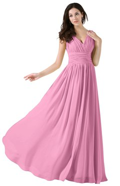 ColsBM Alana Pink Elegant V-neck Sleeveless Zip up Floor Length Ruching Bridesmaid Dresses