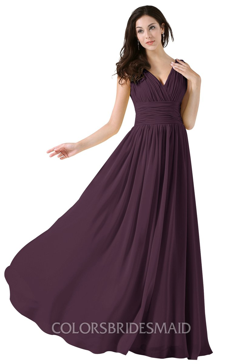 1b7dd2a5a596 ColsBM Alana Plum Elegant V-neck Sleeveless Zip up Floor Length Ruching  Bridesmaid Dresses