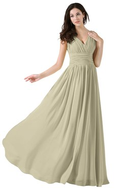 ColsBM Alana Putty Elegant V-neck Sleeveless Zip up Floor Length Ruching Bridesmaid Dresses