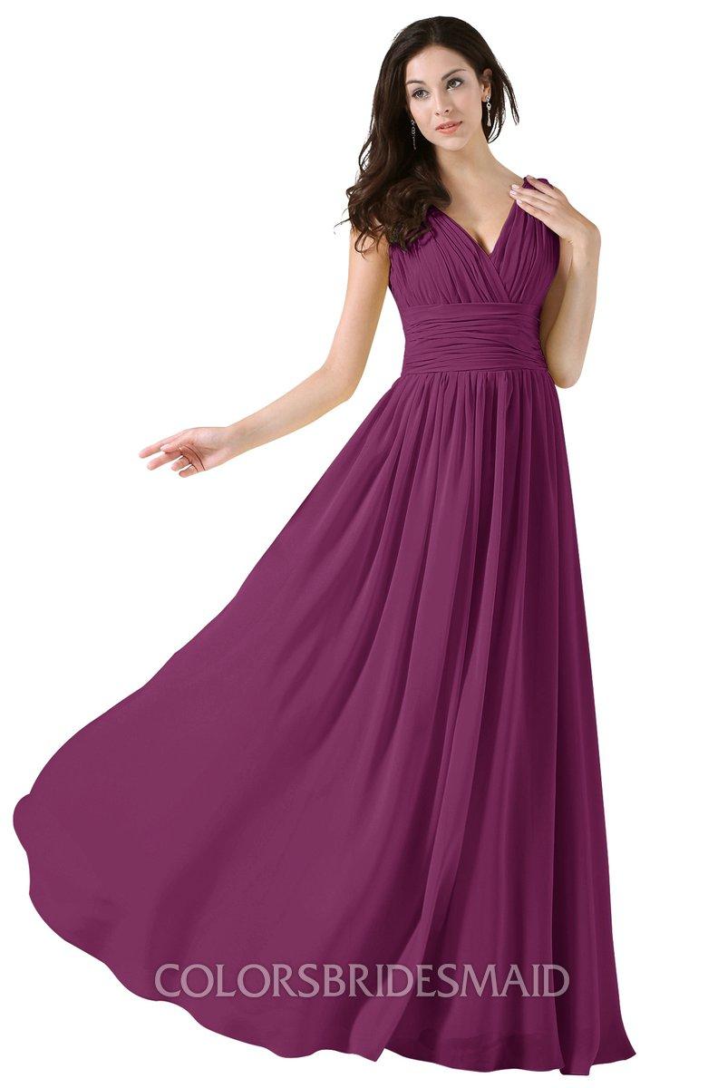 Colsbm Alana Raspberry Elegant V Neck Sleeveless Zip Up Floor Length Ruching Bridesmaid Dresses