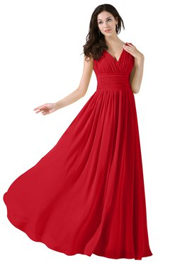 ColsBM Alana Red Elegant V-neck Sleeveless Zip up Floor Length Ruching Bridesmaid Dresses