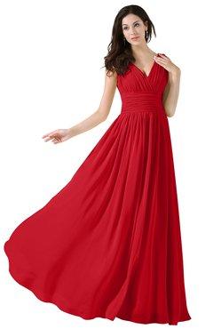 ColsBM Alana Red Elegant V-neck Sleeveless Zip up Floor Length Ruching Bridesmaid Dresses