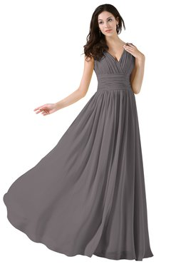 ColsBM Alana Ridge Grey Elegant V-neck Sleeveless Zip up Floor Length Ruching Bridesmaid Dresses